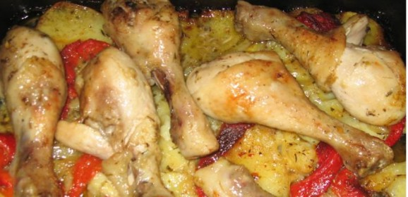 Receta: Pollo con verduras al horno